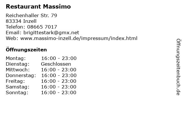 Restaurant Massimo in Inzell: Adresse und Öffnungszeiten