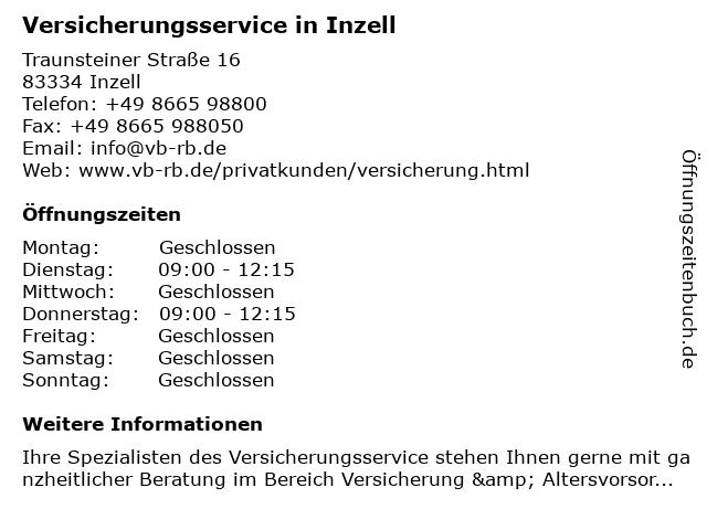 Allianz Versicherung Inzell - VR Versicherungsservice in Inzell: Adresse und Öffnungszeiten