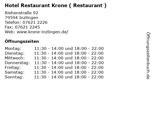 Hotel Restaurant Krone ( Restaurant ) in Inzlingen: Adresse und Öffnungszeiten