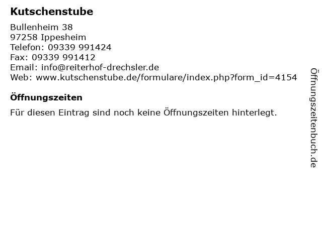 Kutschenstube in Ippesheim: Adresse und Öffnungszeiten