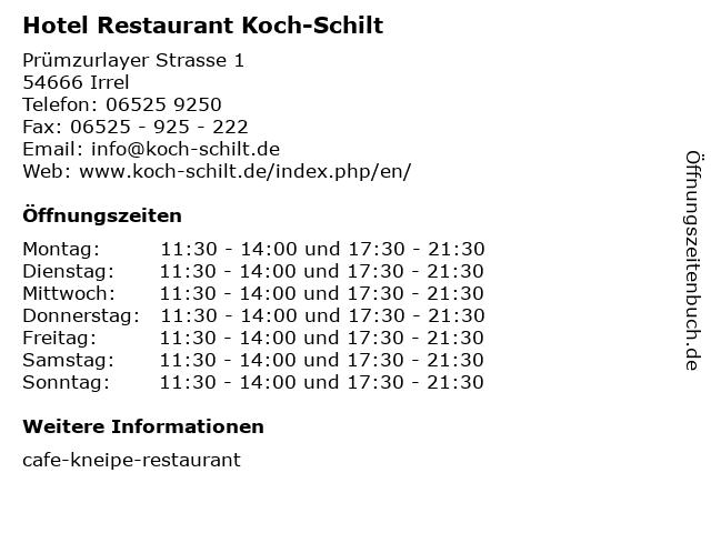 Hotel Restaurant Koch-Schilt in Irrel: Adresse und Öffnungszeiten