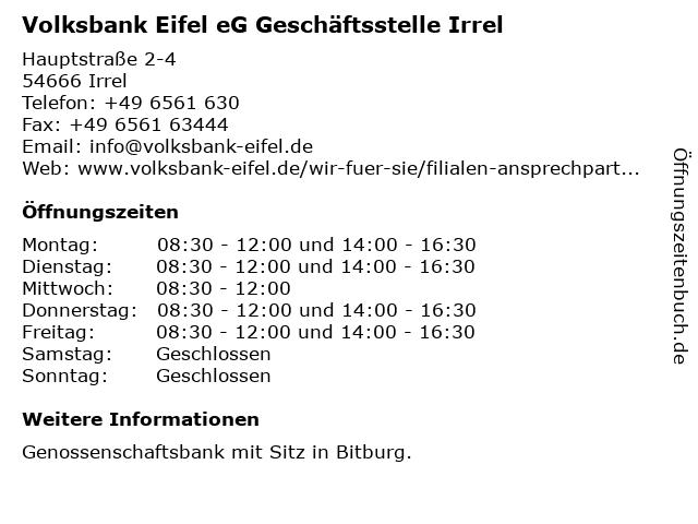 Raiffeisenbank Irrel eG Hauptstelle Irrel in Irrel: Adresse und Öffnungszeiten