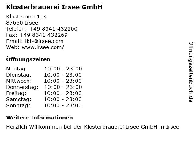 Á… Offnungszeiten Irseer Klosterbrau Klosterring 1 3 In Irsee