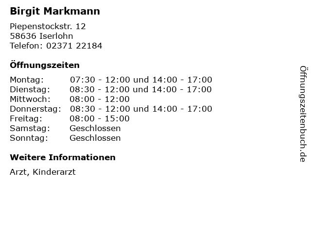 Birgit Markmann in Iserlohn: Adresse und Öffnungszeiten