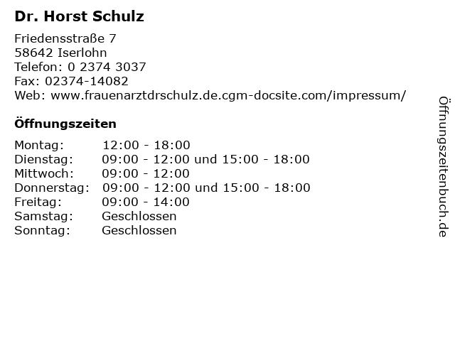 Dr. Horst Schulz in Iserlohn: Adresse und Öffnungszeiten