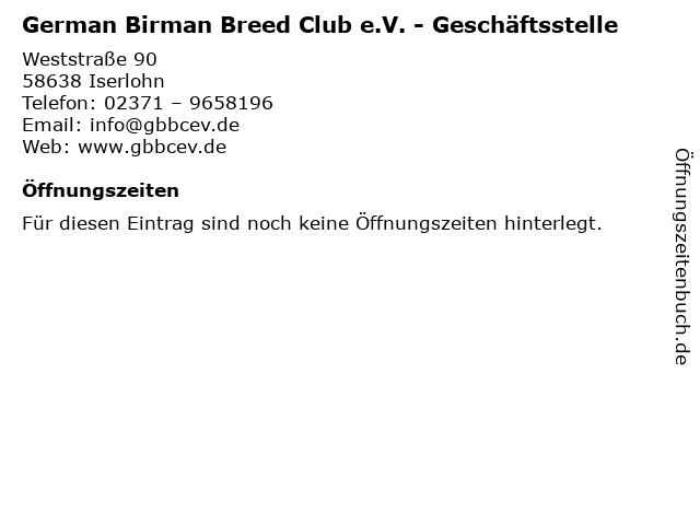German Birman Breed Club e.V. - Geschäftsstelle in Iserlohn: Adresse und Öffnungszeiten