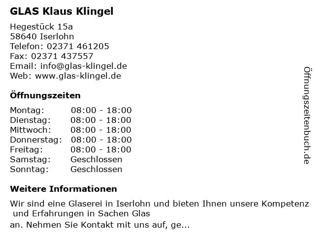 Klaus Klingel Glaserei in Iserlohn: Adresse und Öffnungszeiten