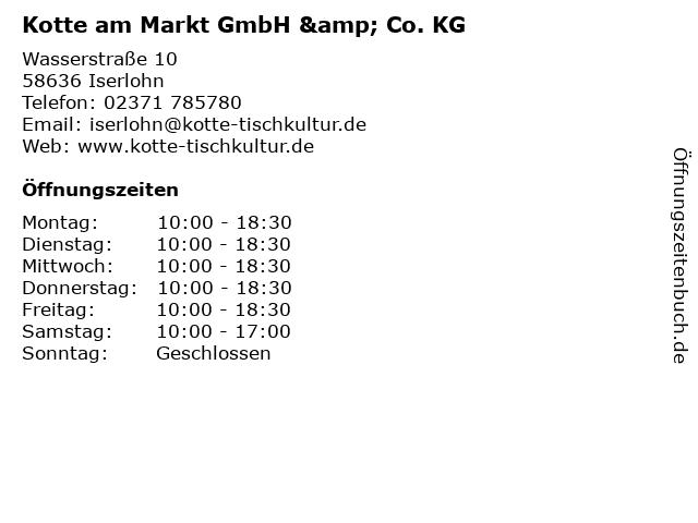 Kotte am Markt GmbH & Co. KG in Iserlohn: Adresse und Öffnungszeiten