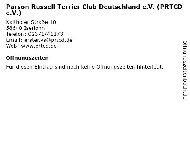 Parson Russell Terrier Club Deutschland e.V. (PRTCD e.V.) in Iserlohn: Adresse und Öffnungszeiten