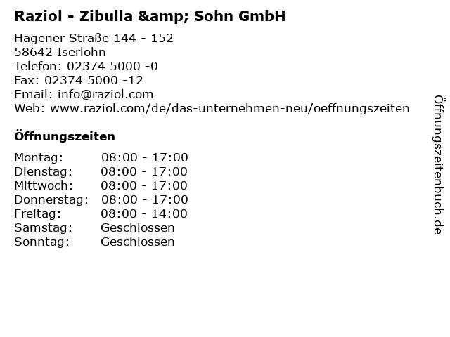 Raziol - Zibulla & Sohn GmbH in Iserlohn: Adresse und Öffnungszeiten