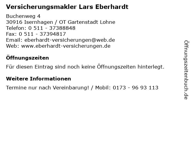 Versicherungsmakler Lars Eberhardt in Isernhagen / OT Gartenstadt Lohne: Adresse und Öffnungszeiten