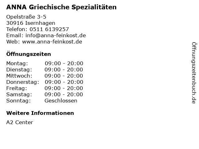ANNA Griechische Spezialitäten in Isernhagen: Adresse und Öffnungszeiten