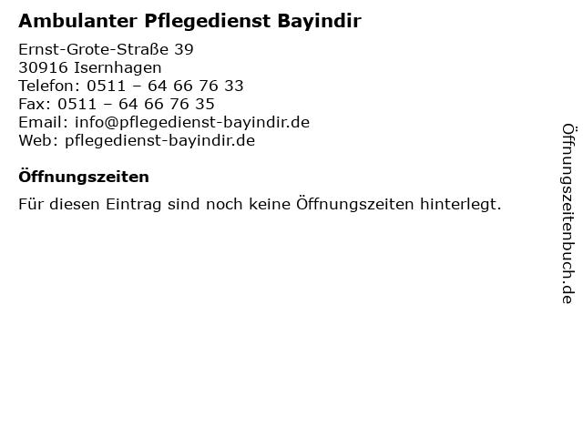 Ambulanter Pflegedienst Bayindir in Isernhagen: Adresse und Öffnungszeiten