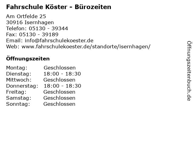 Fahrschule Köster - Bürozeiten in Isernhagen: Adresse und Öffnungszeiten