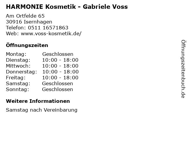 HARMONIE Kosmetik - Gabriele Voss in Isernhagen: Adresse und Öffnungszeiten