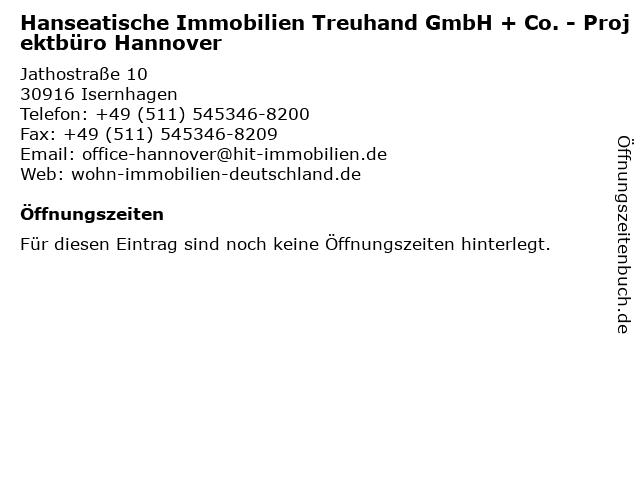 Hanseatische Immobilien Treuhand GmbH + Co. - Projektbüro Hannover in Isernhagen: Adresse und Öffnungszeiten