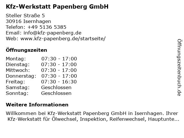 Kfz-Meisterwerkstatt Papenberg - Werkstatt in Isernhagen: Adresse und Öffnungszeiten