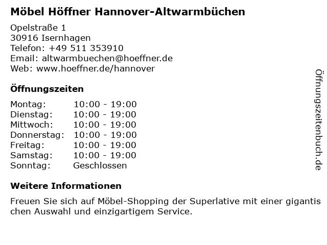ᐅ öffnungszeiten Möbel Höffner Opelstraße 1 In Isernhagen