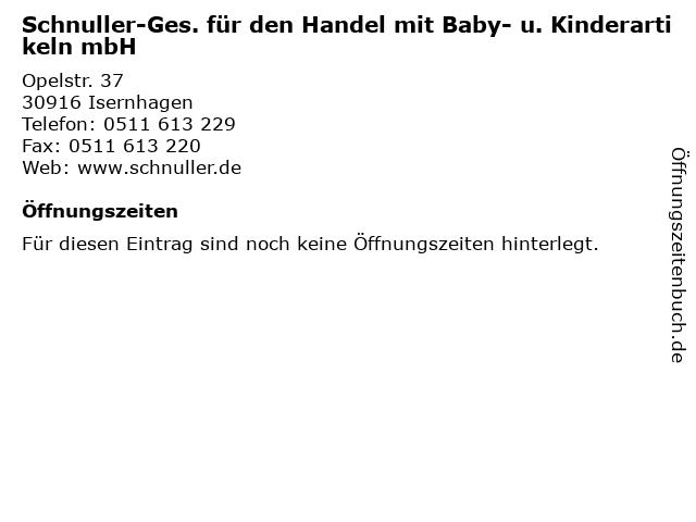 Schnuller-Ges. für den Handel mit Baby- u. Kinderartikeln mbH in Isernhagen: Adresse und Öffnungszeiten
