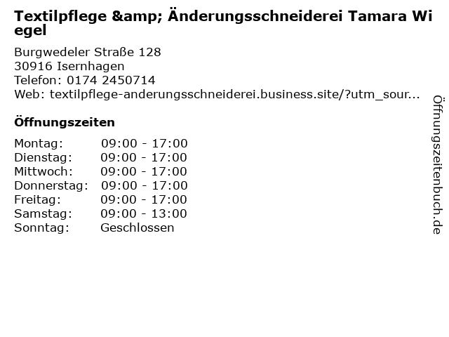 Textilpflege & Änderungsschneiderei Tamara Wiegel in Isernhagen: Adresse und Öffnungszeiten
