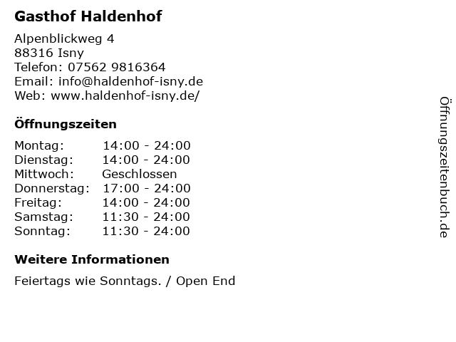 Á… Offnungszeiten Gasthof Haldenhof Alpenblickweg 4 In Isny