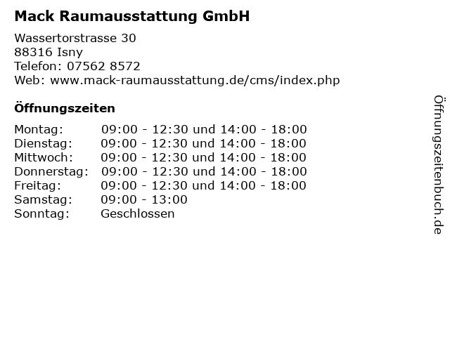 Mack Raumausstattung GmbH in Isny: Adresse und Öffnungszeiten