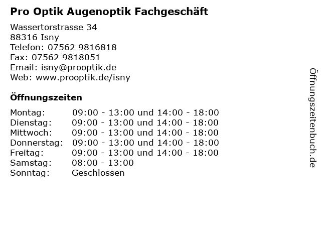 """gemütlich frisch Qualität zuerst 2019 heißer verkauf ᐅ Öffnungszeiten """"pro optik Augenoptik Fachgeschäft GmbH ..."""