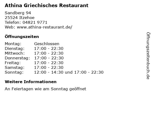Athina Griechisches Restaurant in Itzehoe: Adresse und Öffnungszeiten