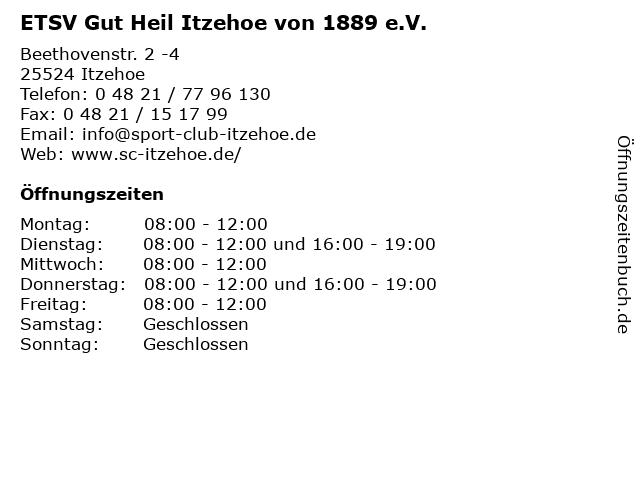 ETSV Gut Heil Itzehoe von 1889 e.V. in Itzehoe: Adresse und Öffnungszeiten