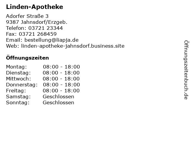 Linden-Apotheke in Jahnsdorf/Erzgeb.: Adresse und Öffnungszeiten