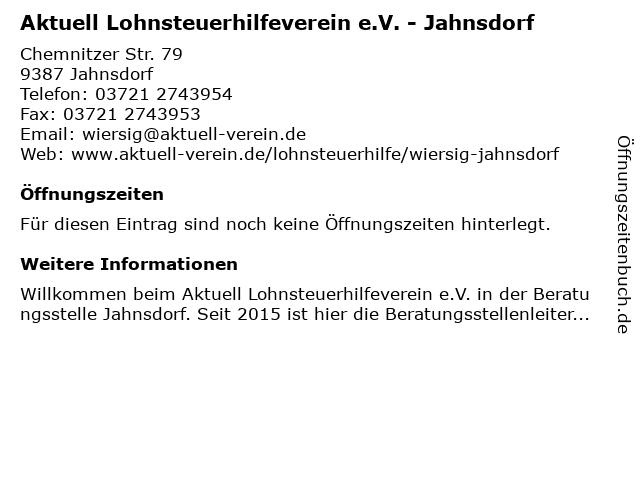 Aktuell Lohnsteuerhilfeverein e.V. - Jahnsdorf in Jahnsdorf: Adresse und Öffnungszeiten