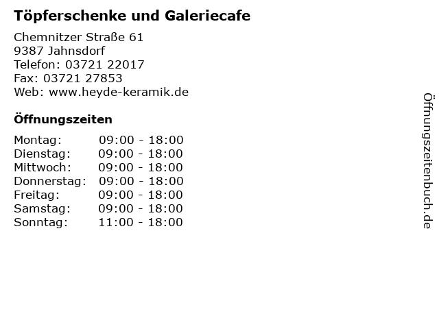 Töpferschenke und Galeriecafe in Jahnsdorf: Adresse und Öffnungszeiten