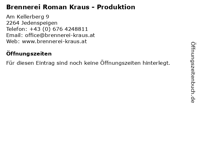 Brennerei Roman Kraus - Produktion in Jedenspeigen: Adresse und Öffnungszeiten