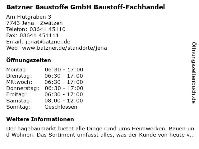 Batzner Baustoffe GmbH Baustoff-Fachhandel in Jena - Zwätzen: Adresse und Öffnungszeiten