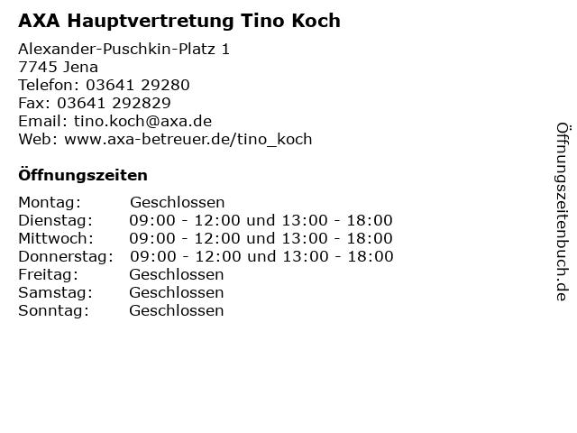 AXA Hauptvertretung Tino Koch in Jena: Adresse und Öffnungszeiten