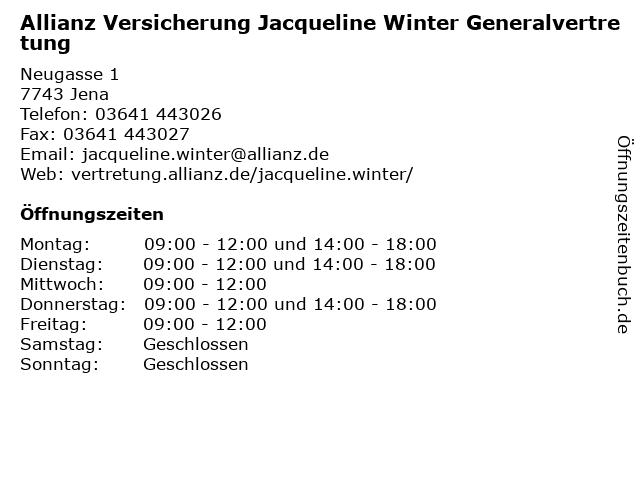 Allianz Jacqueline Winter in Jena: Adresse und Öffnungszeiten