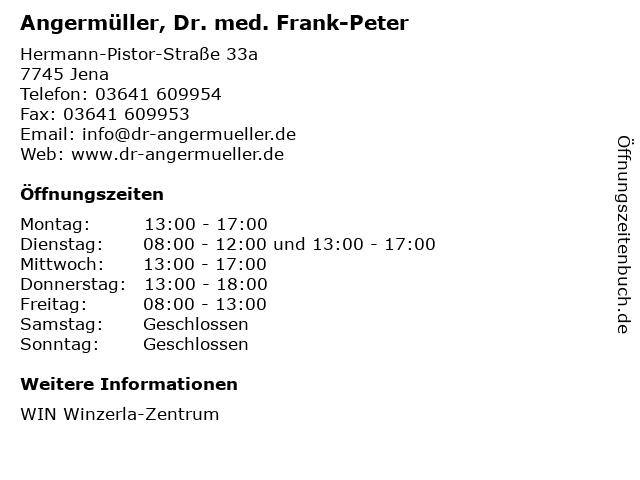 Angermüller, Dr. med. Frank-Peter in Jena: Adresse und Öffnungszeiten