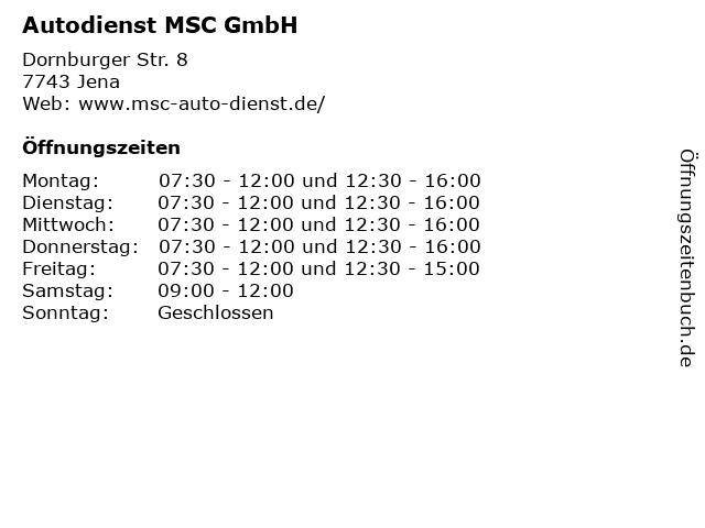 Autodienst MSC GmbH in Jena: Adresse und Öffnungszeiten