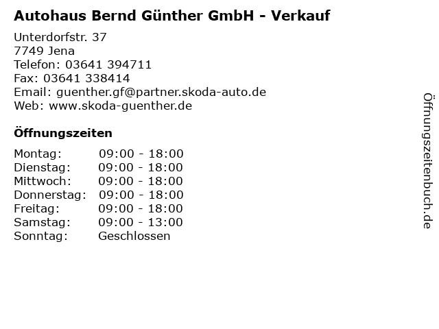 Autohaus Bernd Günther GmbH - Verkauf in Jena: Adresse und Öffnungszeiten