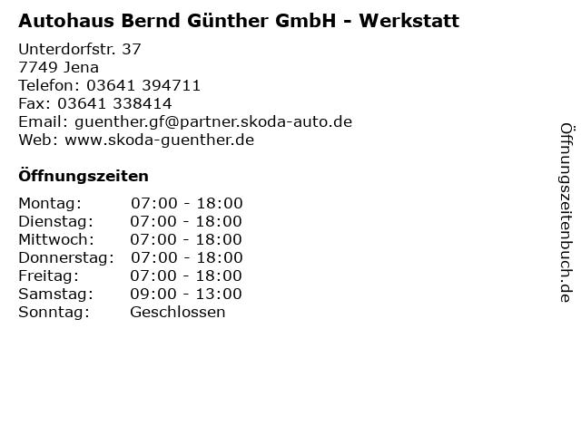 Autohaus Bernd Günther GmbH - Werkstatt in Jena: Adresse und Öffnungszeiten