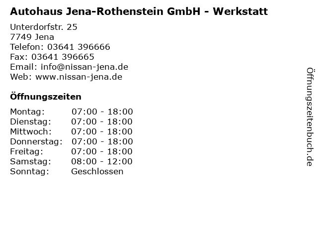 Autohaus Jena-Rothenstein GmbH - Werkstatt in Jena: Adresse und Öffnungszeiten