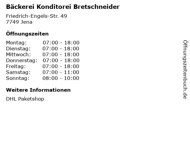 Bäckerei Konditorei Bretschneider in Jena: Adresse und Öffnungszeiten