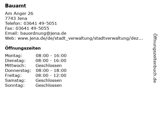 Bauamt in Jena: Adresse und Öffnungszeiten