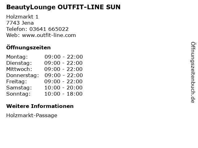 BeautyLounge OUTFIT-LINE SUN in Jena: Adresse und Öffnungszeiten