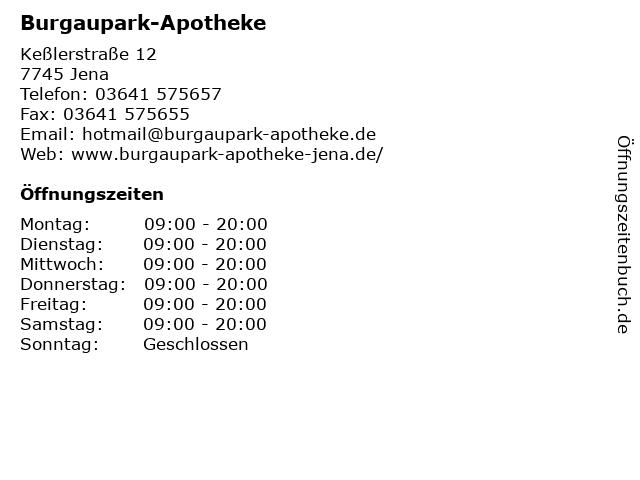 Burgaupark-Apotheke in Jena: Adresse und Öffnungszeiten