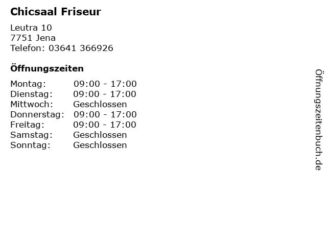 Chicsaal Friseur in Jena: Adresse und Öffnungszeiten