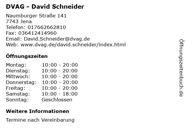 DVAG - David Schneider in Jena: Adresse und Öffnungszeiten