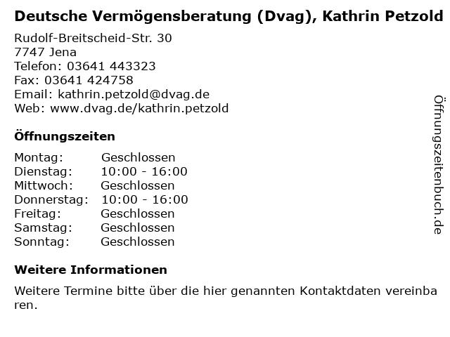 Deutsche Vermögensberatung (Dvag), Kathrin Petzold in Jena: Adresse und Öffnungszeiten