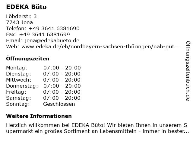 EDEKA Büto in Jena: Adresse und Öffnungszeiten