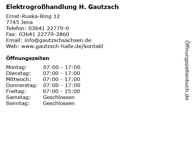 Elektrogroßhandlung H. Gautzsch in Jena: Adresse und Öffnungszeiten